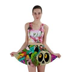 Crazy Illustrations & Funky Monster Pattern Mini Skirt