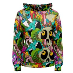 Crazy Illustrations & Funky Monster Pattern Women s Pullover Hoodie