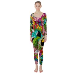 Crazy Illustrations & Funky Monster Pattern Long Sleeve Catsuit