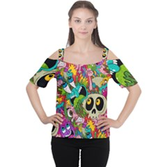 Crazy Illustrations & Funky Monster Pattern Women s Cutout Shoulder Tee