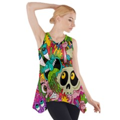 Crazy Illustrations & Funky Monster Pattern Side Drop Tank Tunic