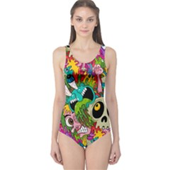 Crazy Illustrations & Funky Monster Pattern One Piece Swimsuit