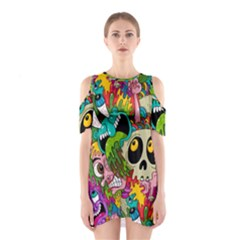 Crazy Illustrations & Funky Monster Pattern Shoulder Cutout One Piece