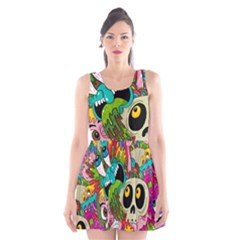 Crazy Illustrations & Funky Monster Pattern Scoop Neck Skater Dress