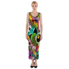 Crazy Illustrations & Funky Monster Pattern Fitted Maxi Dress