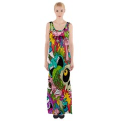 Crazy Illustrations & Funky Monster Pattern Maxi Thigh Split Dress