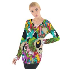 Crazy Illustrations & Funky Monster Pattern Women s Tie Up Tee