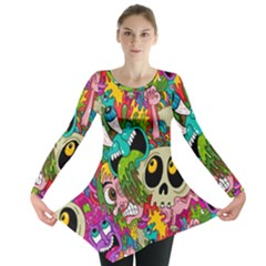 Crazy Illustrations & Funky Monster Pattern Long Sleeve Tunic