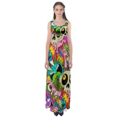 Crazy Illustrations & Funky Monster Pattern Empire Waist Maxi Dress