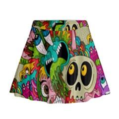 Crazy Illustrations & Funky Monster Pattern Mini Flare Skirt