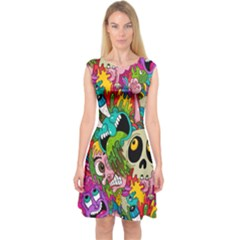 Crazy Illustrations & Funky Monster Pattern Capsleeve Midi Dress
