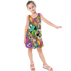 Crazy Illustrations & Funky Monster Pattern Kids  Sleeveless Dress