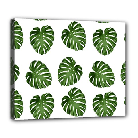 Leaf Pattern Seamless Background Deluxe Canvas 24  x 20