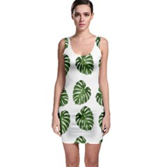 Leaf Pattern Seamless Background Sleeveless Bodycon Dress