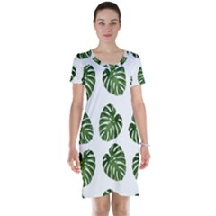 Leaf Pattern Seamless Background Short Sleeve Nightdress