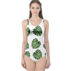 Leaf Pattern Seamless Background One Piece Swimsuit