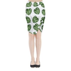 Leaf Pattern Seamless Background Midi Wrap Pencil Skirt