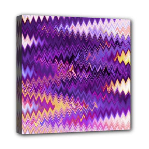 Purple And Yellow Zig Zag Mini Canvas 8  X 8