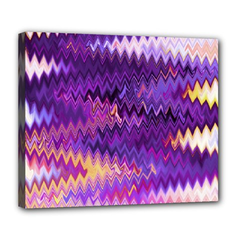 Purple And Yellow Zig Zag Deluxe Canvas 24  x 20