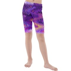 Purple And Yellow Zig Zag Kids  Mid Length Swim Shorts