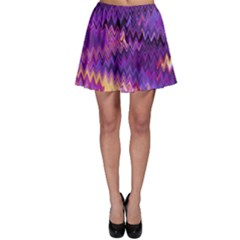 Purple And Yellow Zig Zag Skater Skirt