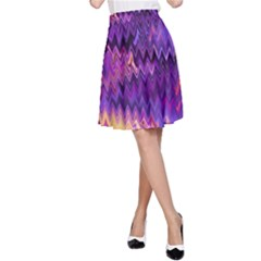 Purple And Yellow Zig Zag A-Line Skirt