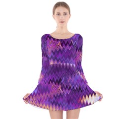 Purple And Yellow Zig Zag Long Sleeve Velvet Skater Dress