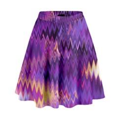 Purple And Yellow Zig Zag High Waist Skirt