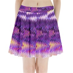 Purple And Yellow Zig Zag Pleated Mini Skirt