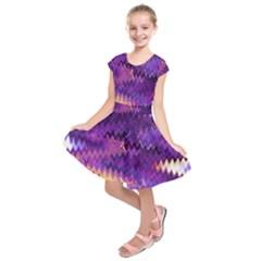 Purple And Yellow Zig Zag Kids  Short Sleeve Dress
