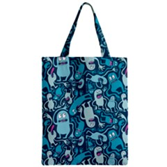 Monster Pattern Zipper Classic Tote Bag