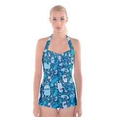 Monster Pattern Boyleg Halter Swimsuit