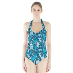 Monster Pattern Halter Swimsuit