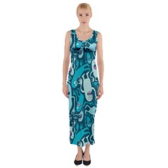Monster Pattern Fitted Maxi Dress
