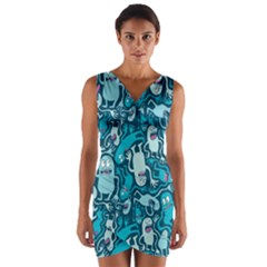 Monster Pattern Wrap Front Bodycon Dress