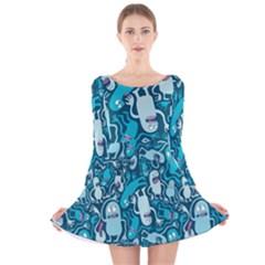 Monster Pattern Long Sleeve Velvet Skater Dress