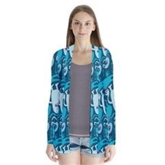 Monster Pattern Drape Collar Cardigan