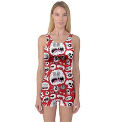 Another Monster Pattern One Piece Boyleg Swimsuit