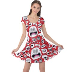 Another Monster Pattern Cap Sleeve Dresses