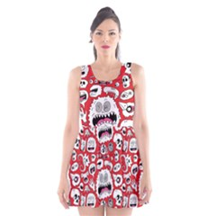 Another Monster Pattern Scoop Neck Skater Dress