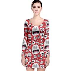 Another Monster Pattern Long Sleeve Velvet Bodycon Dress