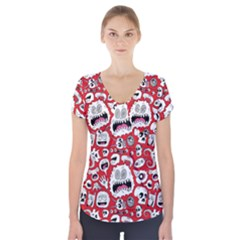 Another Monster Pattern Short Sleeve Front Detail Top