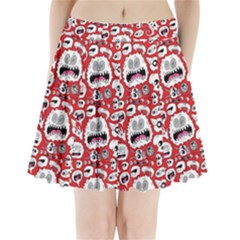 Another Monster Pattern Pleated Mini Skirt