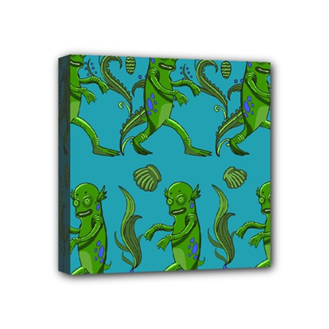 Swamp Monster Pattern Mini Canvas 4  x 4