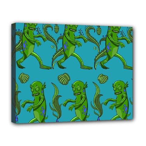 Swamp Monster Pattern Canvas 14  X 11