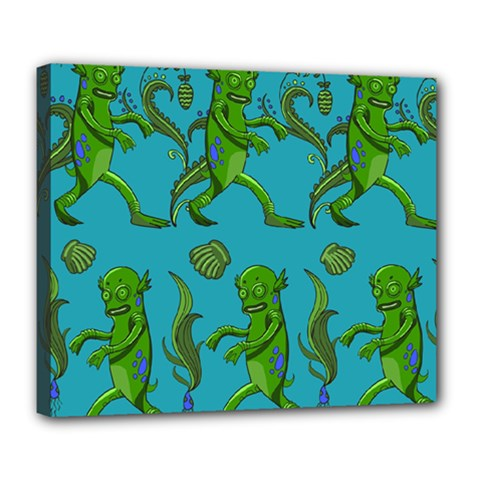 Swamp Monster Pattern Deluxe Canvas 24  X 20