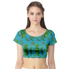 Swamp Monster Pattern Short Sleeve Crop Top (Tight Fit)