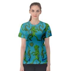 Swamp Monster Pattern Women s Sport Mesh Tee