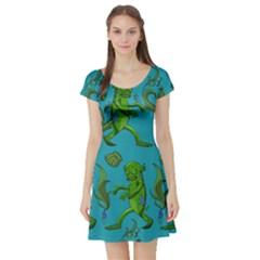 Swamp Monster Pattern Short Sleeve Skater Dress