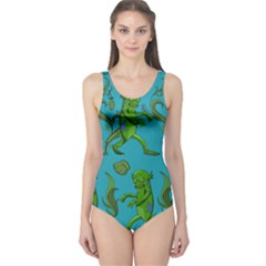 Swamp Monster Pattern One Piece Swimsuit